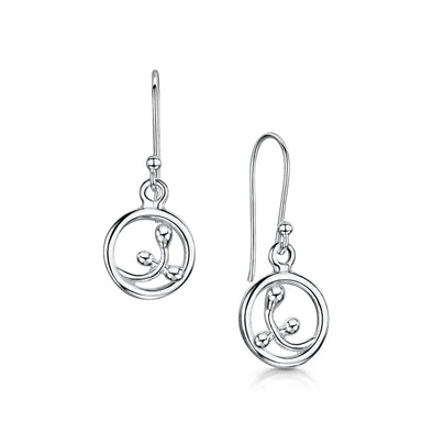 Scottish Willow silver small drop earrings | Glenna Jewellery Scotland