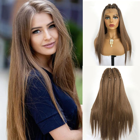 Long Silky Straight Light Brown Lace Wigs