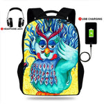 USB Charging Owl Print Backpack