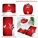 Holiday Christmas Bathroom Curtain Mat