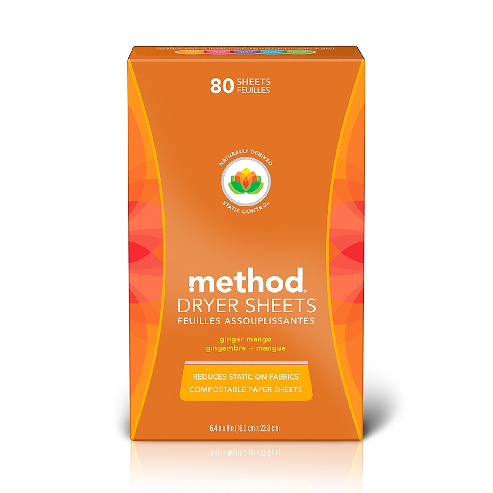 100% Compostable Dryer Sheets 80s - Ginger Mango