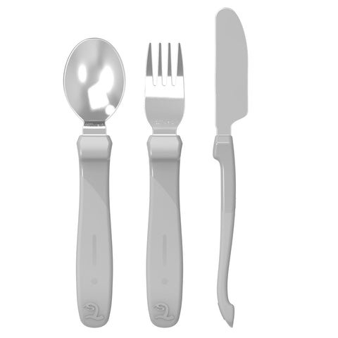 Toddler Stainless Steel Learning Cutlery Pastel Grey 12m+