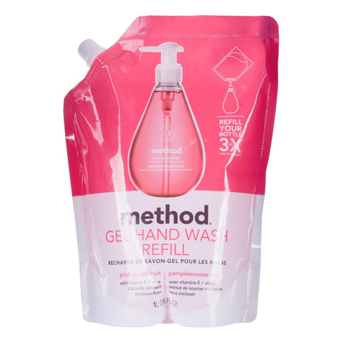 Naturally Derived Gel Hand Wash Refill 1L - Pink Grapefruit