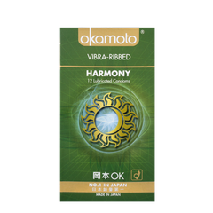 OK Harmony Vibra Ribbed Condoms 12s