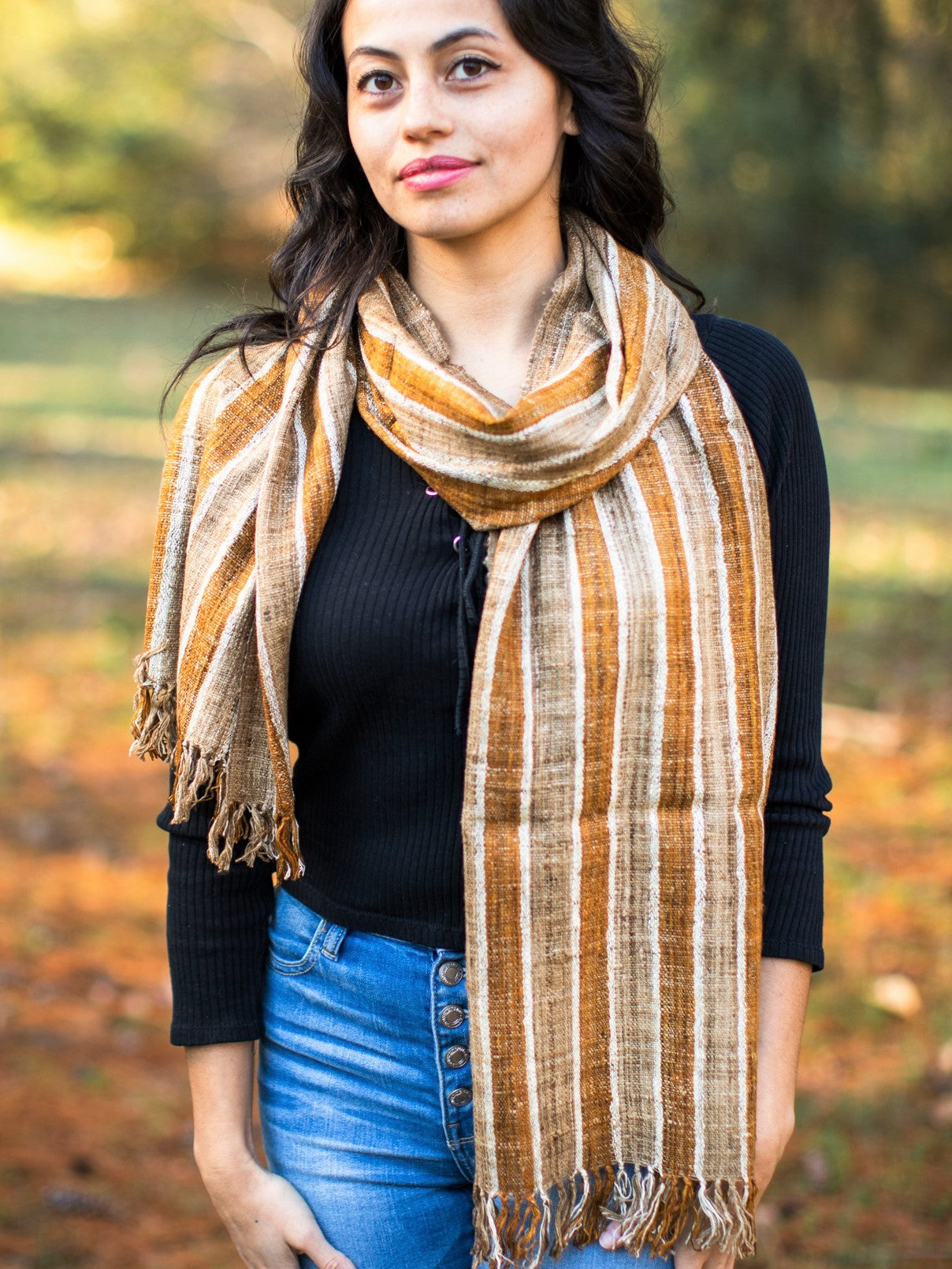 Hand-Made Natural Dyed Fair Trade Silk Scarf for Women or Men