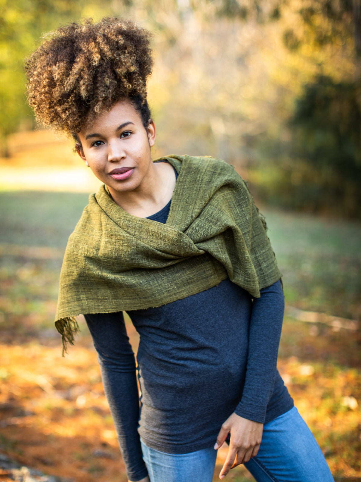 Lush Green Silk Scarf