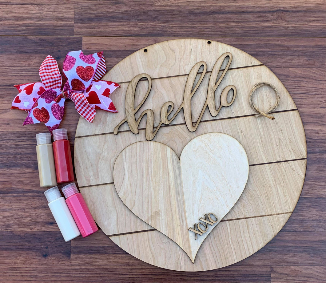 Hello Shiplap Round with Heart  Door Hanger