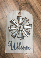 Welcome Tag With Greenery Wreath Or Windmill