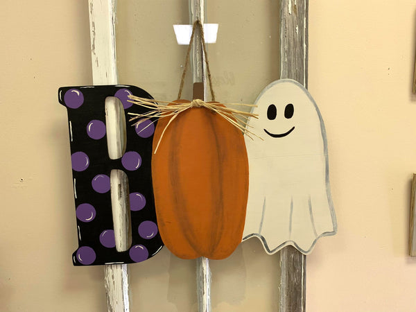 Boo With Ghost & Pumpkin Wood Door Hanger