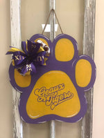 Tiger Paw w/Geaux Tigers Wood Door Hanger