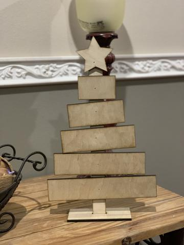 Slatted table top Christmas tree wood cutout