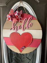 Load image into Gallery viewer, Hello Shiplap Round with Heart  Door Hanger