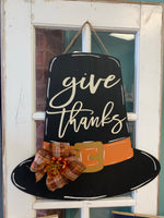 Give Thanks Pilgrim Hat Door Hanger