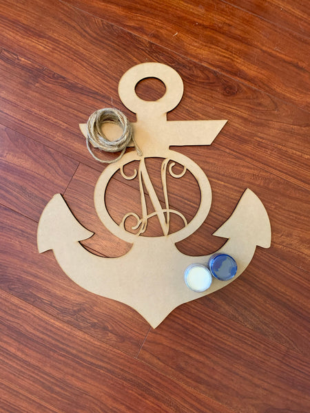 Initial Monogram Anchor DIY Take & Make at home kit