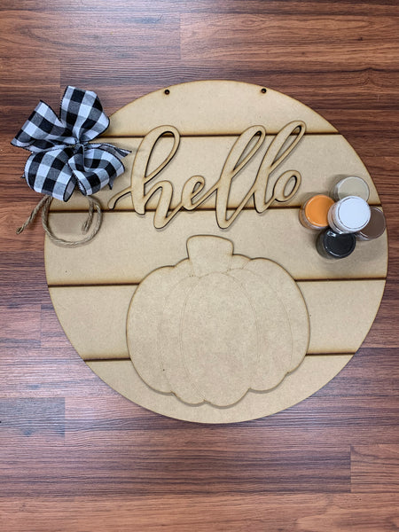 Hello Pumpkin Shiplap Round DIY Take & Make Kit