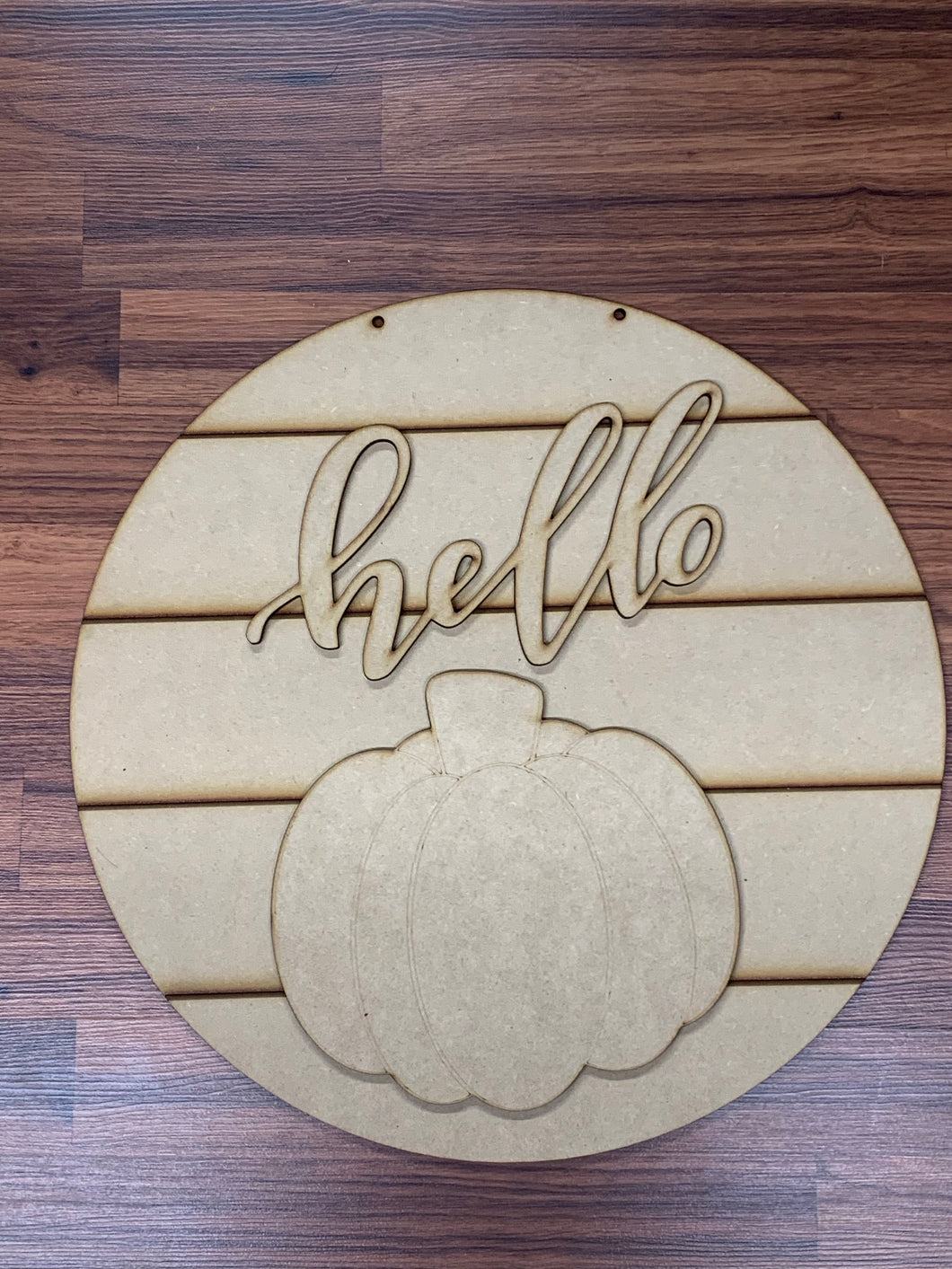 "Hello with pumpkin on 18"" shiplap round Blank- Unfinished"
