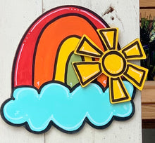 Load image into Gallery viewer, Hi Sunshine Rainbow w/3D words and Sun Door Hanger