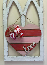Load image into Gallery viewer, Shiplap Heart With Cutout Love on Top Door Hanger
