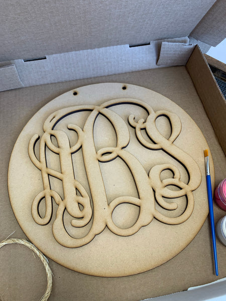 "Monogram on 12"" circle DIY Take & Make at home kit"