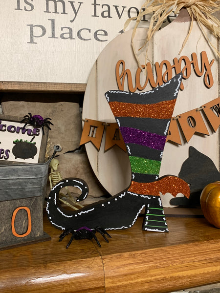 Glitter Striped Witch Shoe Shelf Sitter DIY Kit