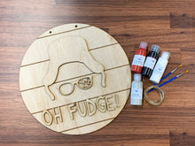 Load image into Gallery viewer, Oh Fudge On Shiplap Round DIY Kit