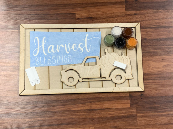 Harvest Blessing Sign w/3D truck DIY take & make kit