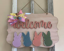 Load image into Gallery viewer, Welcome with Peeps on cute Frame Door Hanger