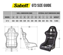 Load image into Gallery viewer, Sabelt Gt3 Race seat size chart