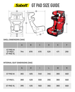 Sabelt Gt Pad Racing Seat Size chart