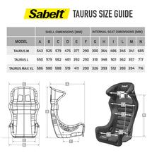 Load image into Gallery viewer, Sabelt - FIA SEATs TAURUS size chart