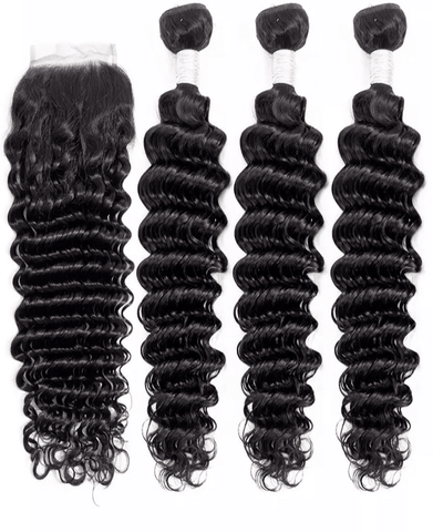 Brazilian Deep Wave Bundles with Free Part Closure - Exclusive Hair