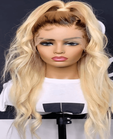 Blonde 13*4 Lace Front Wig with dark roots - Exclusive Hair