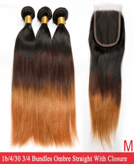 Brazilian Straight Ombre Bundles with Closure - Exclusive Hair
