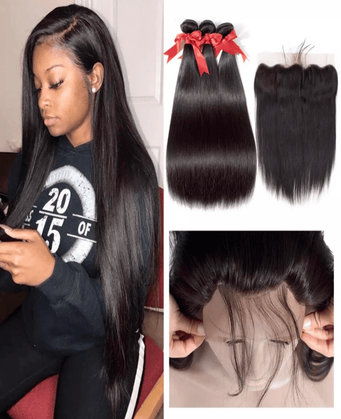 Peruvian Straight Hair Weave Bundle with 13*4 Frontal - Exclusive Hair