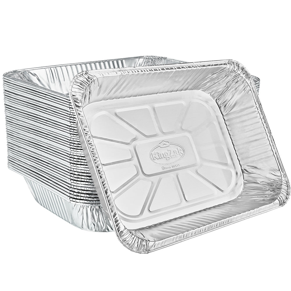 "Heavy Duty Aluminum Foil Half Size Medium Deep Pan 12.75"" L X 10.33"" W X 2.5"" D [100 Count]"