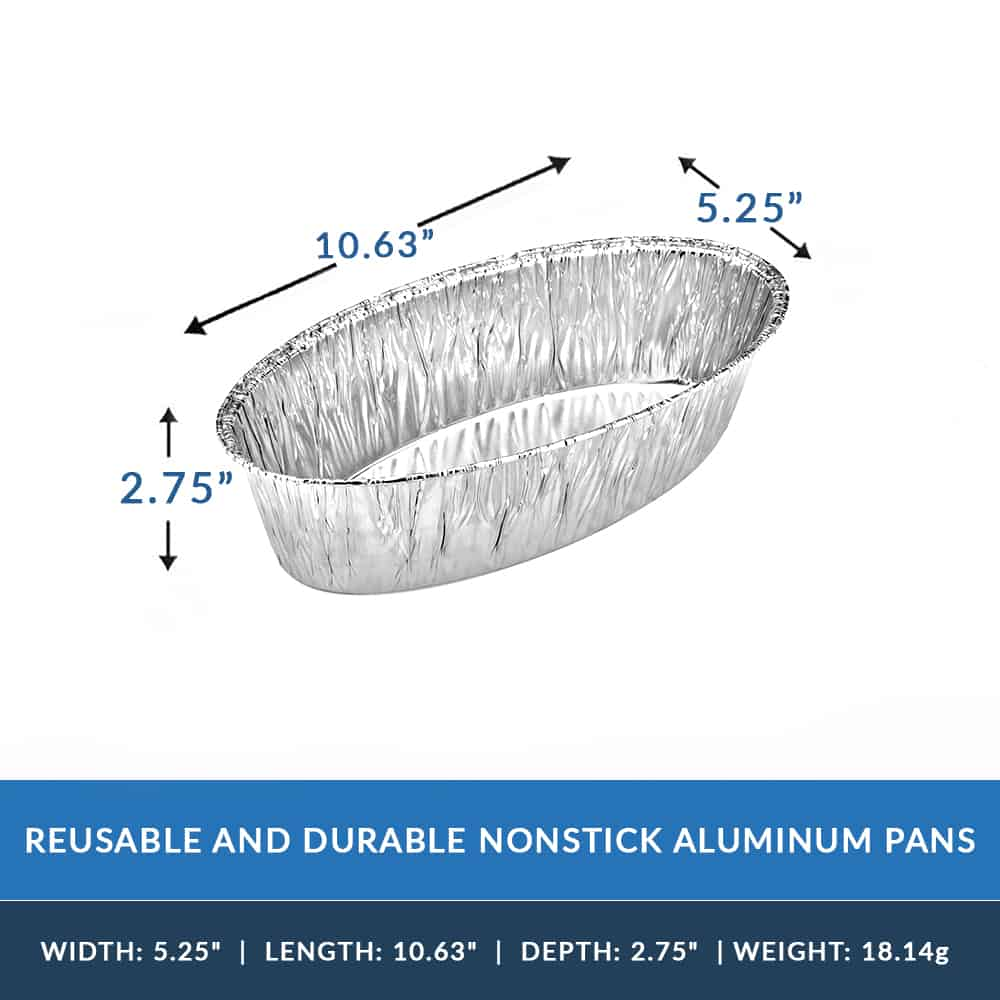 Heavy Duty Aluminum Foil Large Oval Baking Pan 10.63