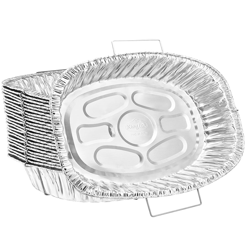 "Heavy Duty Aluminum Foil Oval Rack Roaster With Handle 18.25"" L X 13"" W X 3.5"" D [50 Count]"