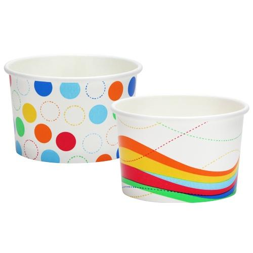 8oz Ice Cream Cups / Waves And Dots