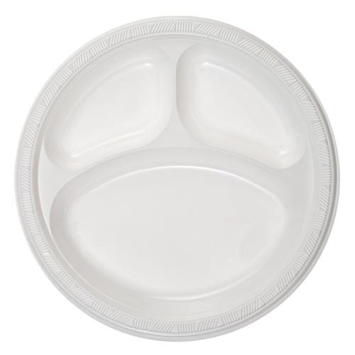 Premium Heavy Weight Plastic Compartment Plate<br/>Size Options: 10inch Compartment Platw