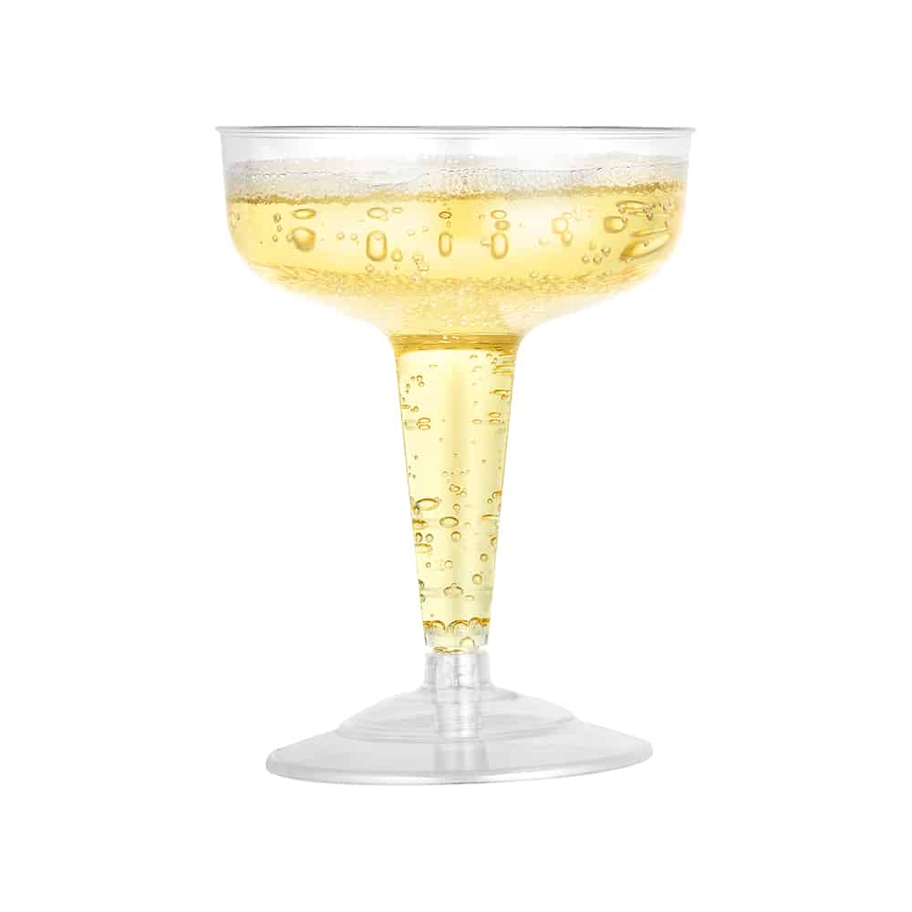 Premium Heavy Weight Plastic Drinkware<br/>Size Options: 5oz Champagne Flute Stemware, 2oz Footed Wine Stemware, 5oz Tumbler, 4oz Champagne Cup Stemware, 5oz Tulip Wine Stemware, 8oz Footed Wine Stemware and 7oz Martini Stemware