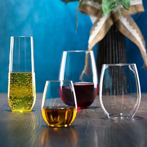 Premium Plastic Stemless Drinkware<br/>Size Options: 4oz Stemless Shot, 9oz Shooter, 10oz Stemless Wine Cup, 12oz Stemless Wine Cup, and 16oz Stemless Wine Cup