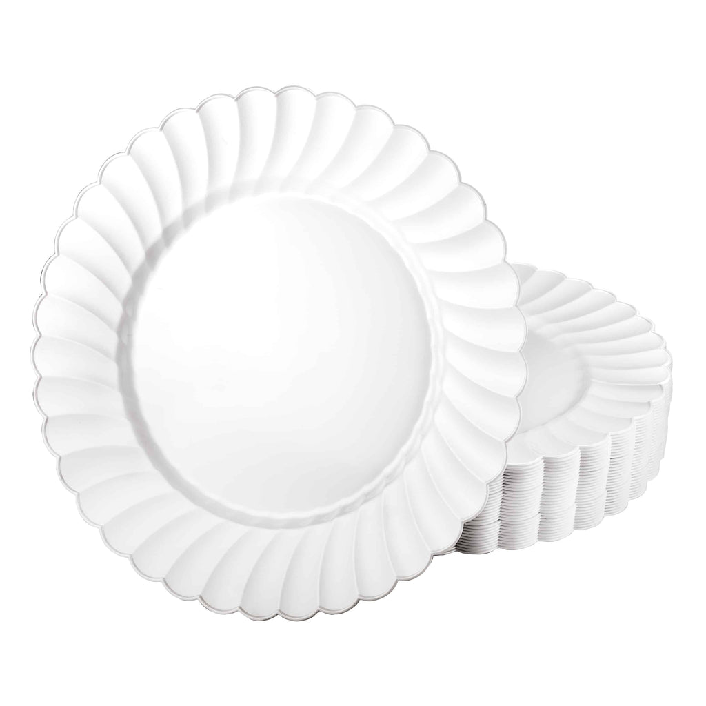 Premium Plastic Scalloped Dinnerware<br/>Size Options: 10.25inch Plate, 7.5inch Plate, and 15oz Bowl