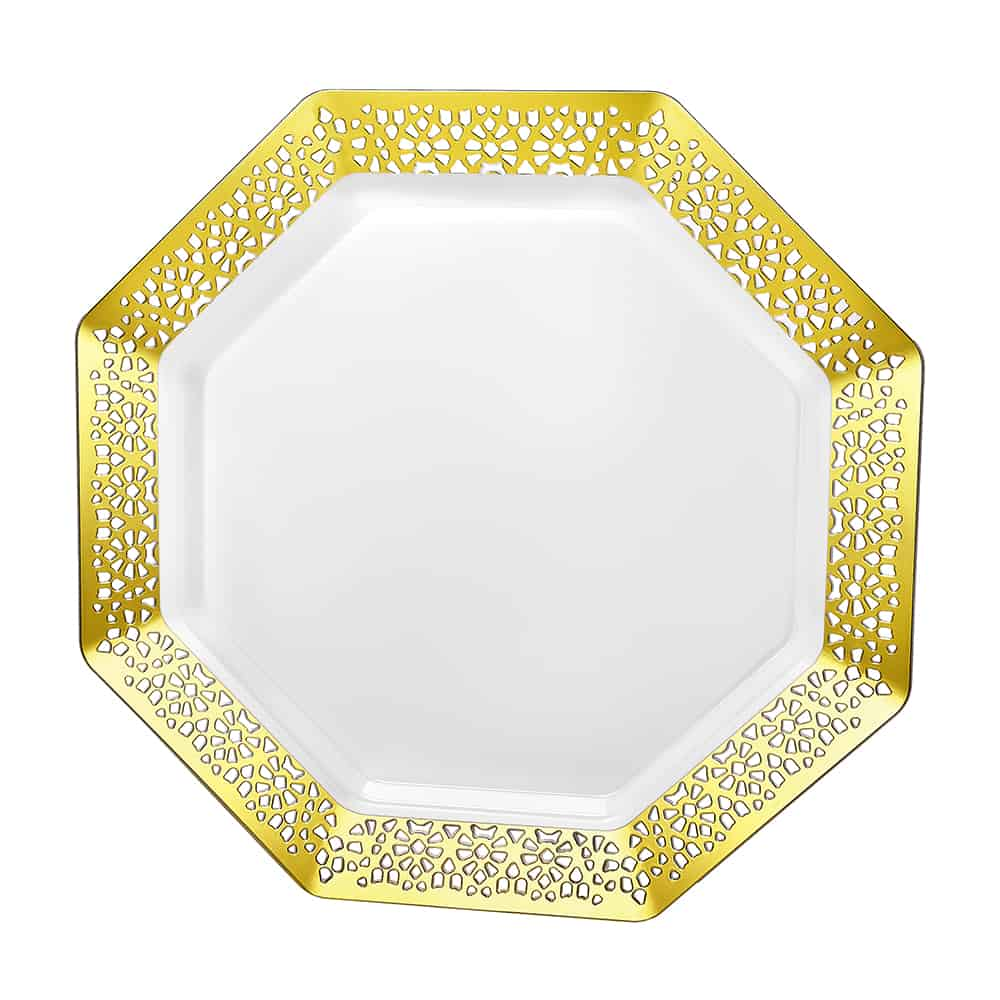 Premium Plastic Lacetagon Dinnerware<br/>Size Options: 11inch Plate, 9.25inch, Plate 7.5inch Plate, 14oz Bowl, and 5oz Bowl