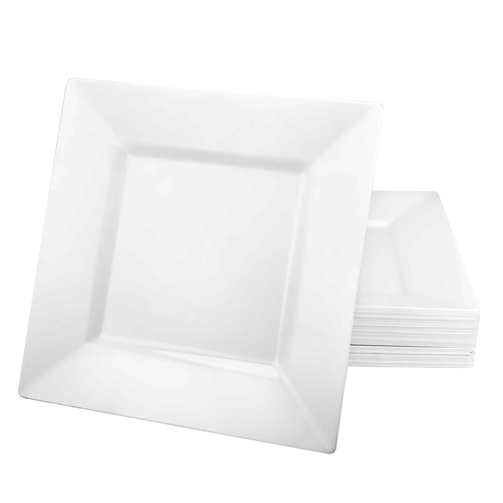 Premium Plastic Squares Dinnerware<br/>Size Options: 10.75inch Plate, 9.5inch Plate, 8inch Plate, 6.5inch Plate, 12oz Bowl, and 5oz Bowl