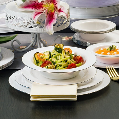 Premium Plastic Magnificence Dinnerware<br/>Size Options: 10.25inch Plate, 9inch Plate, 7.5inch Plate, 6.25inch Plate, 14oz Bowl, and 5oz Bowl