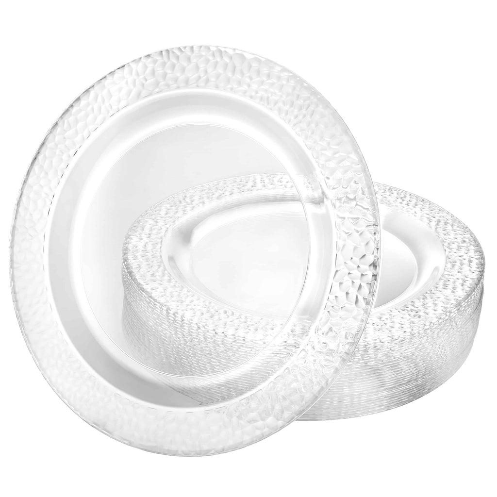 Premium Plastic Pebbled Dinnerware<br/>Size Options: 10.25inch Plate, 9inch Plate, 7.5inch Plate, 14oz Bowl, and 5oz Bowl