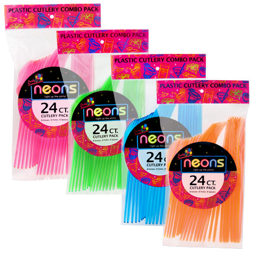 Plastic Neon Assorted Combo Cutlery 36pc