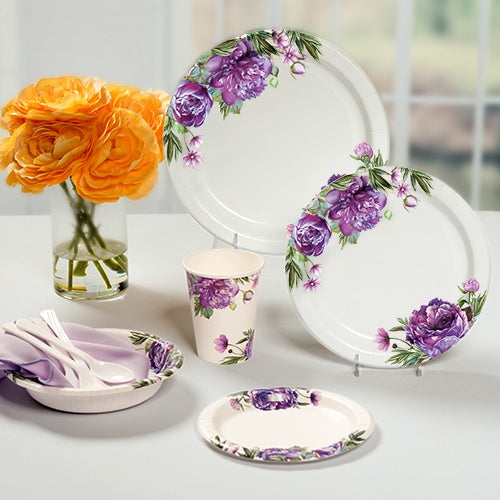 Premium Paper Peony Tableware<br/>Size Options: 10inch Plate, 8.75inch Plate, 7inch Plate, 20oz Bowl, 12oz Cup, and Lunch Napkin