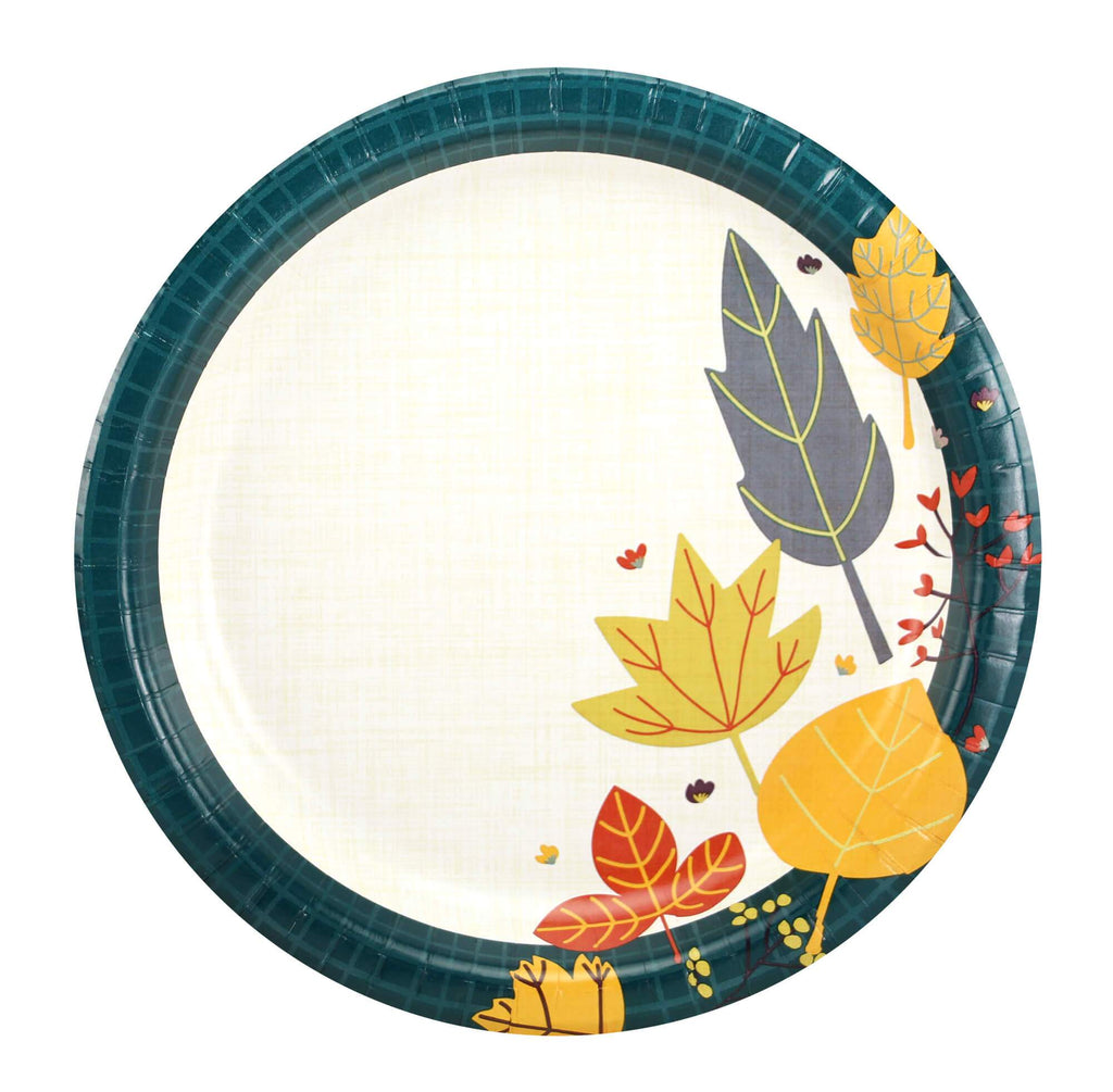 10inch Plate / Teal Leaves