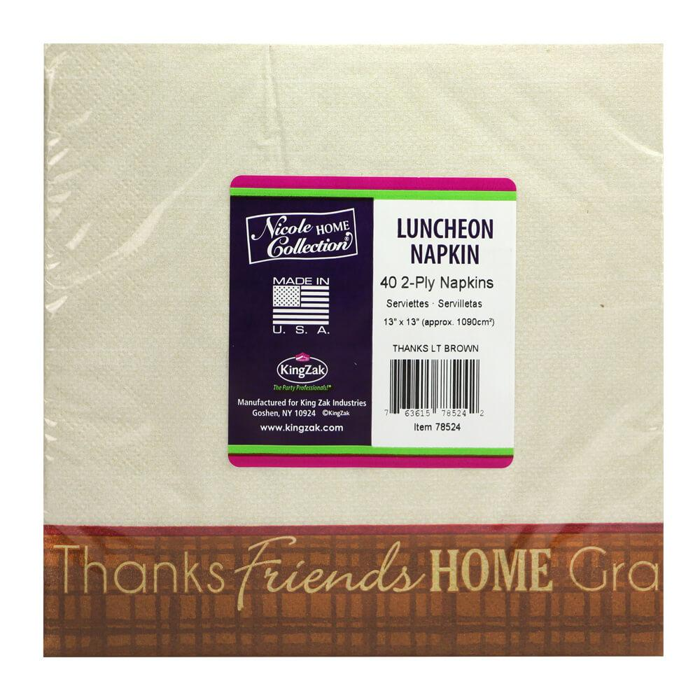 Lunch Napkin / Thanks Light Brown